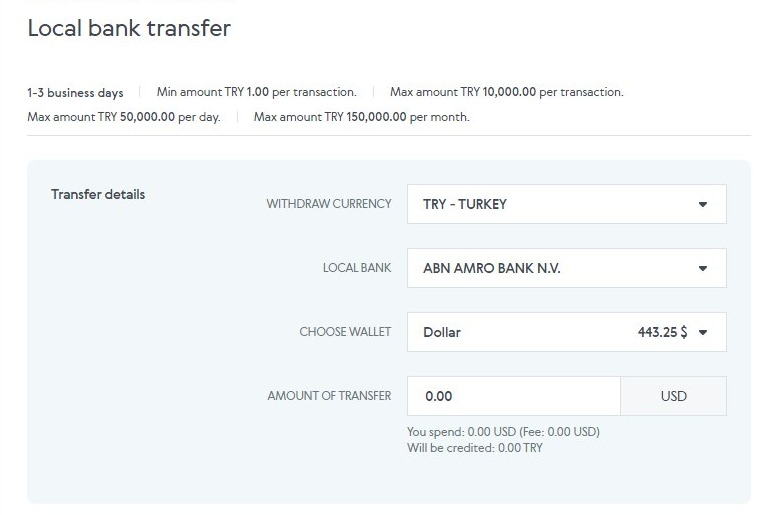 Advanced Cash Local bank transfer Turkey